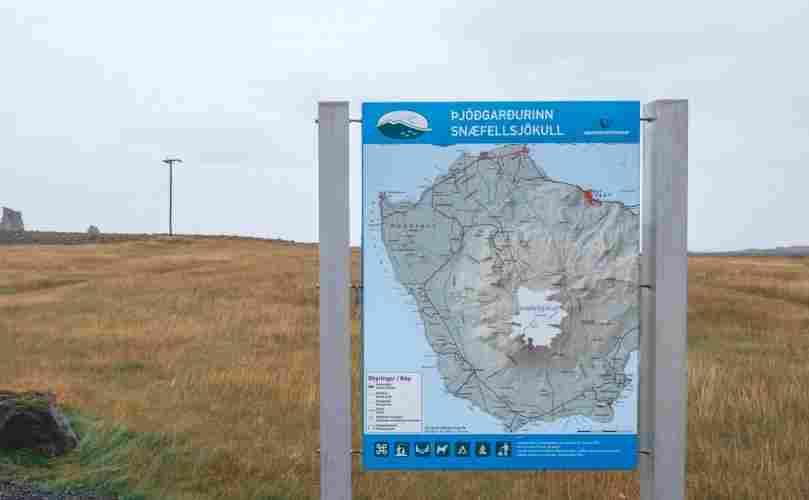 Mapa das atrações no norte da Islândia