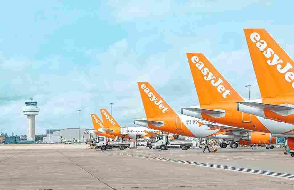 Aeronaves enfileiradas de EasyJet, uma das principais companhias aéreas low cost da Europa