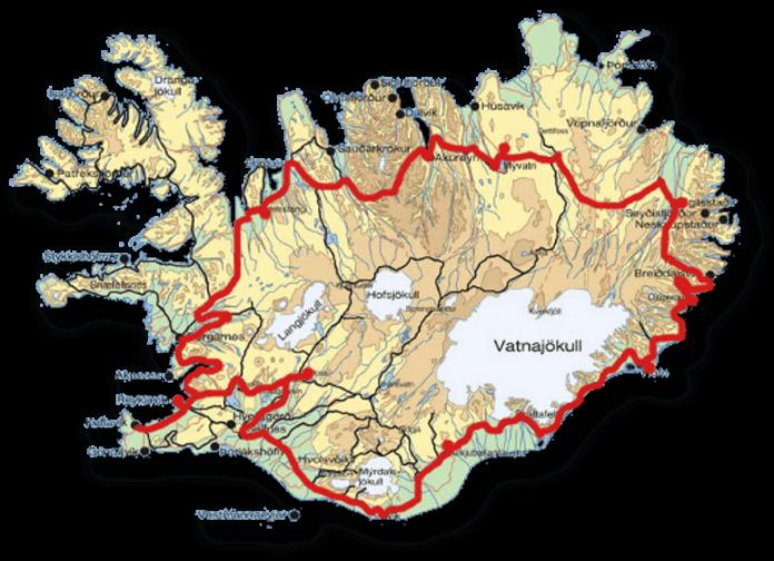 Mapa da Ring Road, estrada principal da Islândia