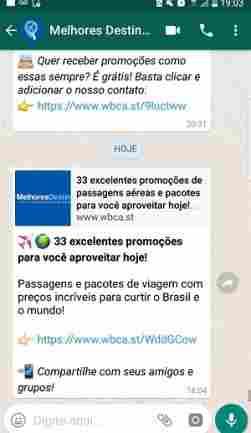 O Melhores Destinos manda as promoções para o seu whatsapp!