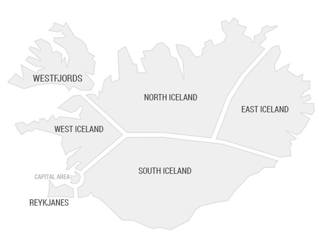 Mapa com as regiões da Islândia